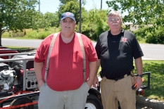 Steve Parmley and Mike Thomasson with the three generators used for the weekend.