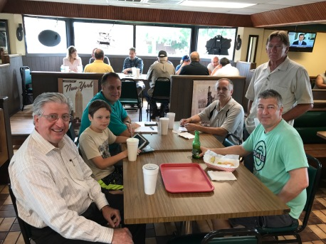 Thursday lunch at Michaels Pizza Restaurant. We were honored to have Laurel Black from the Paducah Sun eat with us. She interviewed Dave Perry, Ken Wontor, Jeff Wielgos and others who gave her excellent info about the hobby and the Field Day Event that was to follow.